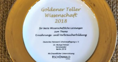 """""""Goldener Teller Wissenschaft 2018"""" für Kompetenzzentrum Schulverpflegung"""